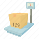 box, cargo, carry, cartoon, delivery, equipment, storage scales icon