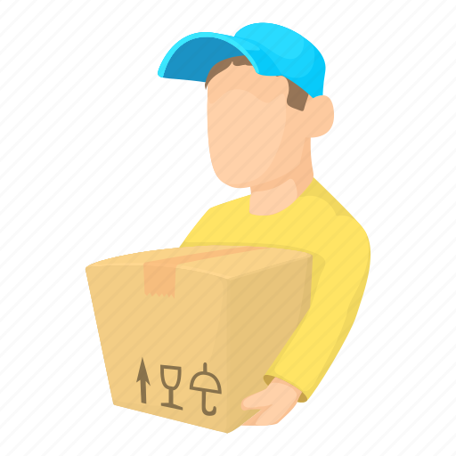 boy, cartoon, character, courier, delivery, loader man, man icon