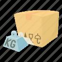 buy, cartoon, crate, decoration, hard box, post, present icon