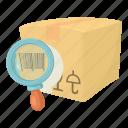barcode box, buy, cartoon, crate, decoration, post, present icon