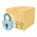 buy, cartoon, closed box, crate, decoration, post, present icon