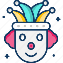 carnival, circus, clown, fun, joker icon
