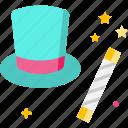 entertainment, hat, magic hat, magic trick, magician icon