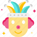 carnival, circus, clown, fun, joker icon