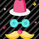 carnival, costume, mask, moustache icon