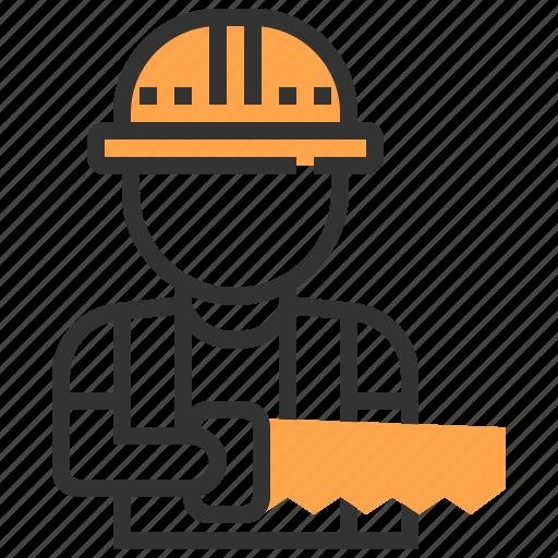 carpenter, labour, man, saw, worker icon