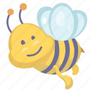 bee, cartoon bee, cartoon insect, insect icon