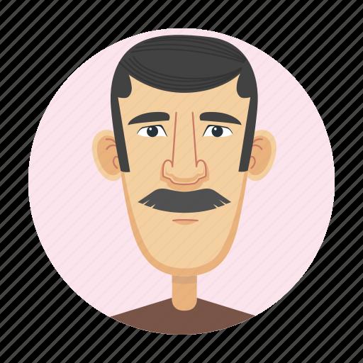 avatar, brunette, face, man, severe icon