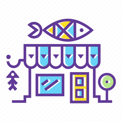 building, city, fishes, grocery, market, seafood, shop icon