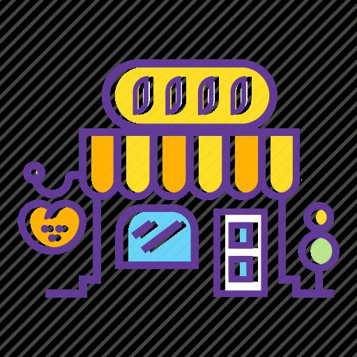 bakery shop, building, city, market, shop, store icon