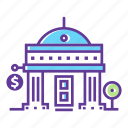 bank, building, cartoon city, cash, city, finance, money icon
