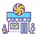 building, candy store, city, confectionery, market, shop, sweet shop icon