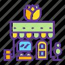 building, city, flower shop, garden, market, shop, shopping icon