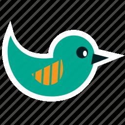 animal, bird, blue, cartoon, children, party, spring icon