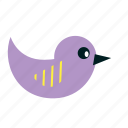 animal, bird, cartoon, fly, kids, party, purple icon