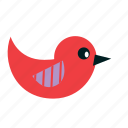 animals, bird, cartoon, fly, kids, party, red icon