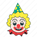 birthday, celebration, clown, drowsy, expression, spring, summer icon