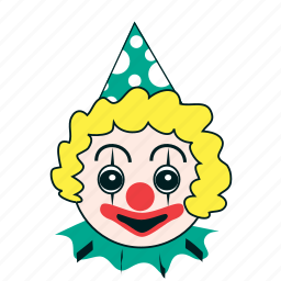 birthday, celebration, clown, expression, happy, party, smiley icon
