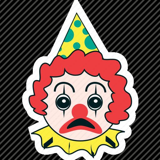birthday, celebration, clown, expression, face, party, sad icon