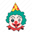 birthday, celebration, clown, expression, happy, party, wink icon