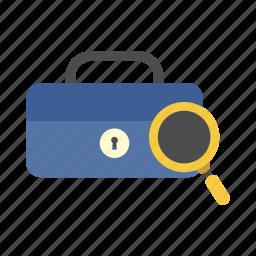 cash box, finance, find, magnifying glass, money, saving, storage icon
