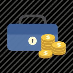cash box, dollar coins, finance, money, saving, secure, storage icon