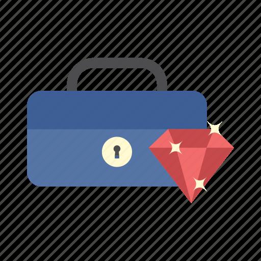 cash box, diamond, finance, money, saving, secure, storage icon