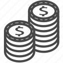 casino, chips, currency, dollar, money icon