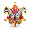badge, finish, gun, medal, prize, star icon