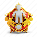 badge, casino, coin, people, prize, shield icon