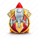 badge, cards, casino, medal, prize, rocket icon