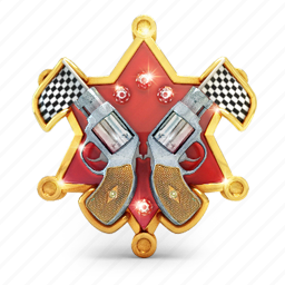 badge, finish, gun, medal, prize, star icon