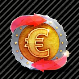 arrow, badge, casino, coin, euro, prize icon