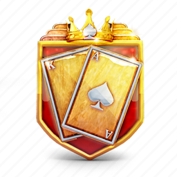 badge, cards, casino, crown, prize, shield icon