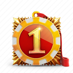 badge, first, medal, one, prize icon