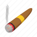 cartoon, cigar, cuban, habit, leaf, smoke, tobacco icon