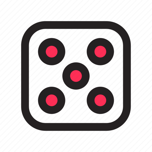 board game, dice, die, five, gambling, game icon