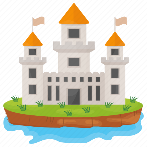 castle tower, fort, historical place, island castle, monument icon