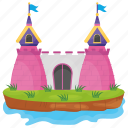 castle, castle building, castle tower, fairyland castle, fortress icon
