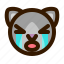 animal, avatar, cat, crying, emoji, emoticon, face