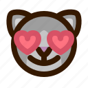 animal, avatar, cat, emoji, emoticon, face, love icon