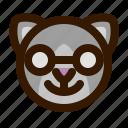 nerd, avatar, cat, face, emoji, animal, emoticon