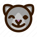 animal, avatar, cat, emoji, emoticon, face, wink icon