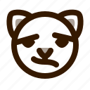 animal, avatar, cat, confused, emoji, emoticon, face icon