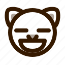 animal, avatar, cat, contented, emoji, emoticon, face icon