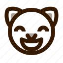 animal, avatar, cat, emoji, emoticon, face, glad icon
