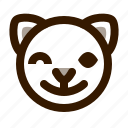 animal, avatar, cat, emoji, emoticon, face, wink icon