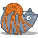 cat, tied, yarn icon