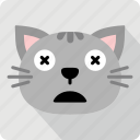 cat, emoticon, expression, face, sad, smile icon
