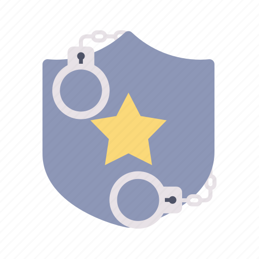 bedge, crime, handcuffs, security, sheriff, star icon